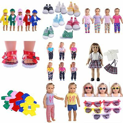 Doll Summer T-shirt Pants Shoes Dress Accessories For 18inch Gifts Clothes N1J0