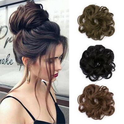 As Human Real Natural Curly Messy Bun Hair Piece Scrunchie Hair Extensions US