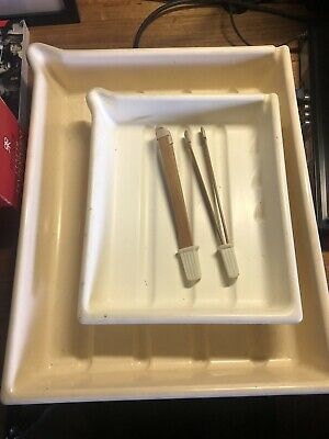 x5 Vintage Darkroom Developing Trays 8x10 12x16 and x2 Print Tongs