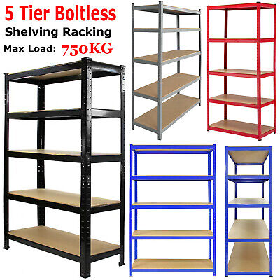 5 Tier Heavy Duty Metal Boltless Shelving Racking Storage Unit Rack Shelves Uk