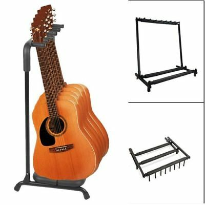 5 Way Multi Guitar Rack Padded Holder Stand Electric Acoustic Bass Black