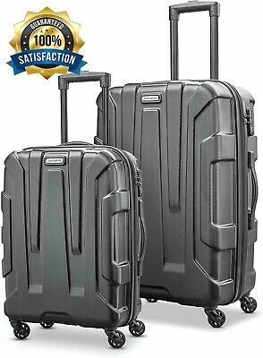 "Samsonite Centric 24"" 20"" Expandable Hardside Spinner Luggage Set 2 Piece Black"