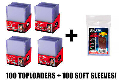 Ultra Pro Top Loaders And Card Sleeves Combo 100 Cards Sleeves & 100 Toploaders