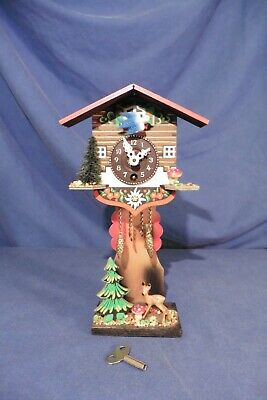 Vintage German A. Schwab Cuckoo Clock Style with moving Bird working VGC key