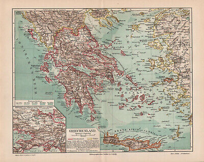 Antique map. GREECE. 1905