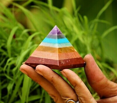 Natural 7 Chakras Stone Healing Charged Reiki Handmade Egyptian 50MM Pyramid