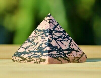 Pink Rhodonite Stone Healing Charged Reiki Chakras Egyptian 50MM Pyramid