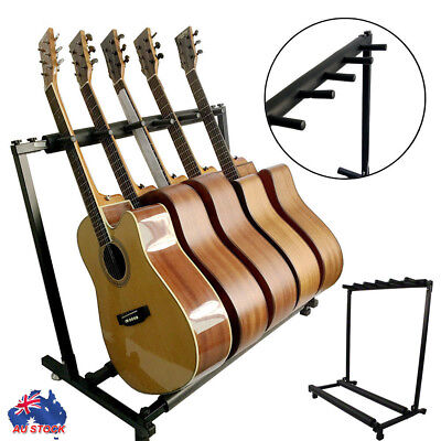 5 Guitars Guitar Stand Stylish Tidy Storage Rack Fits Metal Padded Foam AU BP