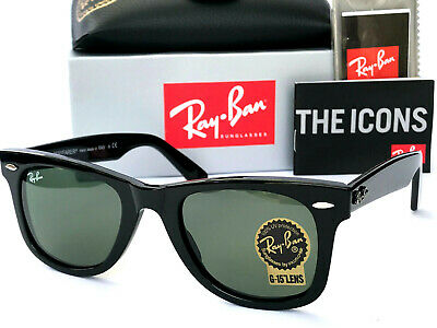Ray-Ban Wayfarer Rayban Rb-2140 Size 50 Unisex Glass G-15 Green Lens Sunglasses