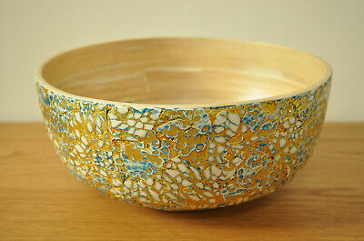 Handmade Decorative Bamboo Bowl Lacquered & Inlaid With Eggshell Blue-Gold H003M