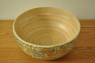 Handmade Decorative Bamboo Bowl Lacquered & Inlaid With Eggshell Blue-Gold H003S