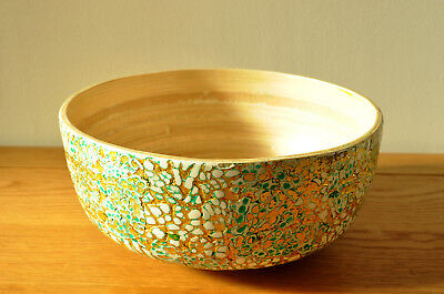 Handmade Decorative Bamboo Bowl Lacquered, Inlaid With Eggshell Green-Gold H004M