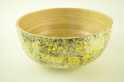 Handmade Decorative Bamboo Bowl Lacquered, Inlaid With Eggshell Black-Gold H070M