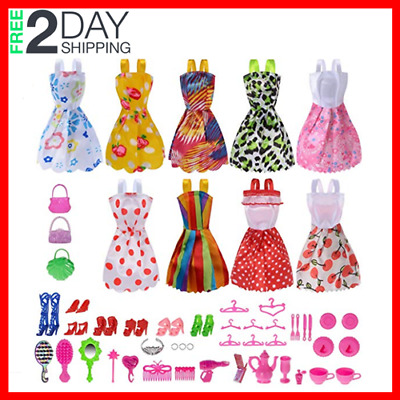 50 Doll Clothes Lot Party Gown Outfits And Accessories Barbie Girl Xmas Gift NEW