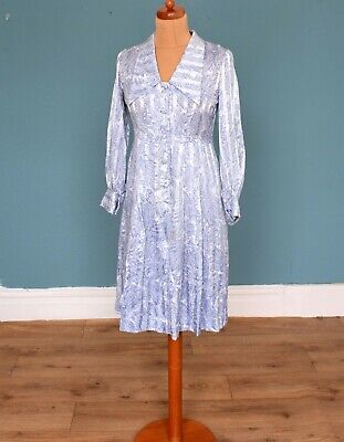Vintage 80's Japanese Blue White Patterned Dress Retro Boho 8