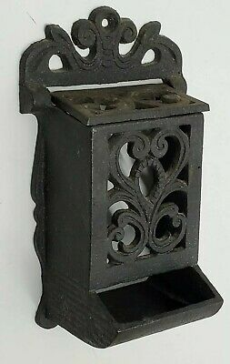 Antique Vintage Ornate Cast Iron Pocket Wall Match Safe Holder Victorian Rare