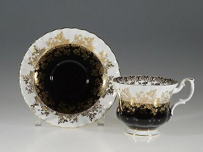 "Royal Albert ""Regal Series"" Black and White Tea Cup and Saucer, England"