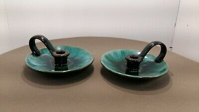 Blue Mountain Pottery Pair of Candle Holders w/handles