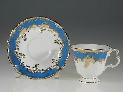 "Royal Albert ""Regina Series"" Aquamarine Tea Cup and Saucer, England"