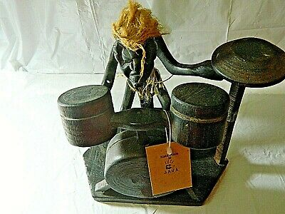 """Java Hand Carved Wooden Drummer Figure 7 1/2"""" Tall"""