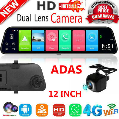 WIFI BT Android 8.1 12in Car DVR GPS Navi Dual Lens Rearview Mirror Camera