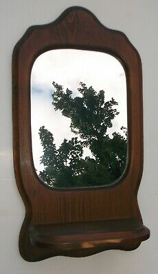 Wood Mirror With Small Bottom Shelf Wall Hanging Used Vintage Wall Mirror Rustic