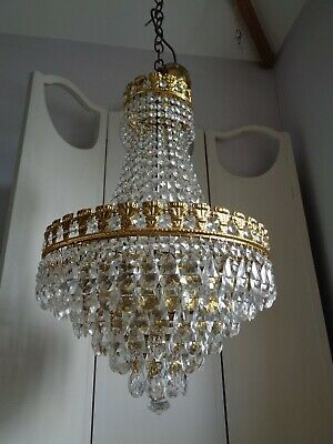 ~~  stunning large vintage french crystal chandelier ~~