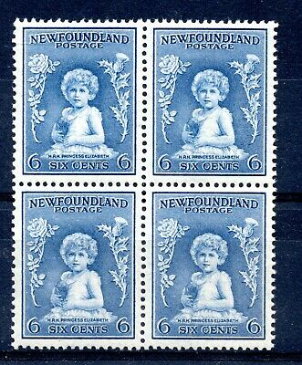 Weeda Newfoundland 192 VF MNH block, 6c dull blue Princess Elizabeth CV $75