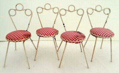 "Vintage Ice Cream Parlor Dollhouse Chairs (4) Metal 3-5/8"" Old fashioned"