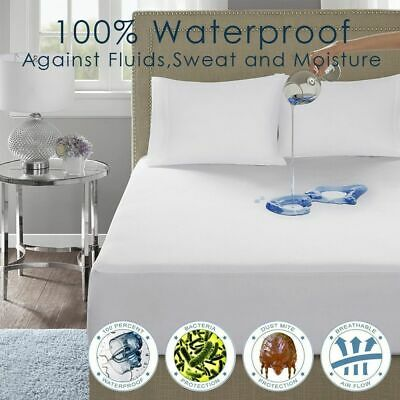 Cotton Cover 100% Waterproof Protector Bed Bug Proof Dust Mite Mattress Cover