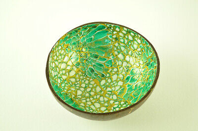 Handmade Decorative Coconut Bowl Lacquered Inlaid w EggShell Turquoise-Gold H067