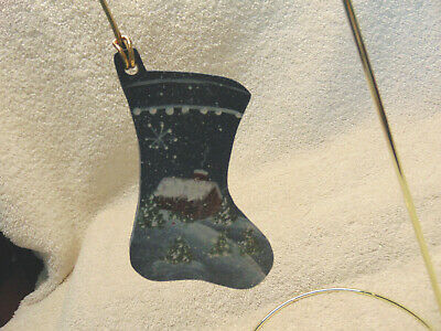 """Stocking Christmas Ornament Wooden Hand Painted 4""""  #A"""