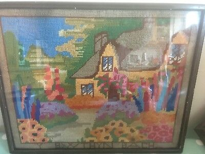 Vintage framed tapestry - Y Bwthyn Bach - Welsh  The Little House -Royal Family?