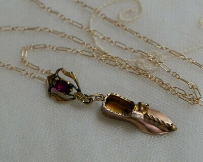 Antique Gold Filled Victorian Miniature Shoe & Amethyst Connector Necklace
