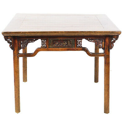 "Antique Chinese 40"" square Elm Mahjong Game Breakfast Table w Detailed Carvings"