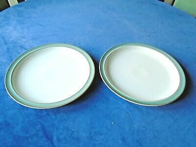 """DENBY - REGENCY GREEN - 2 x DINNER PLATES - 10.25"""" - GOOD CONDITION - used"""