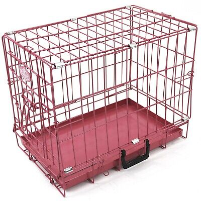 "Pink Dog Puppy Metal Training Cage Crate Carrier Small 20"" 2NDS 2854"