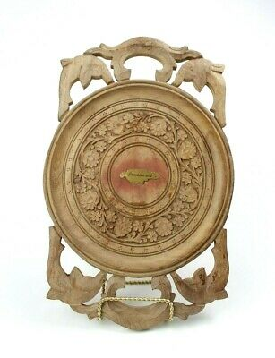Hand Carved Wooden Tray From Jamaica Floral/Dolphins Carvings
