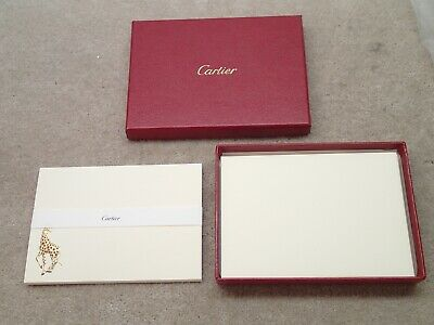 Cartier 10 Note Card Gold Embossed Giraffe Stationary Set Nice