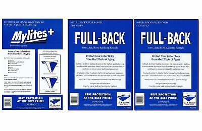 775M+/750FB E.Gerber 100 Mylites+ Silver/ Gold Mylar Bags & Full Back Board Comb