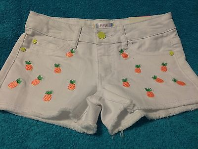 Piper Girls White Pineapple Shorts Size 8 New with Tag