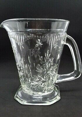 Vintage Art Deco 1930s Pressed Glass Water Jug / Pitcher