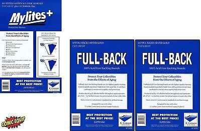100 Mylites+ SILVER/GOLD Mylar Bags & Full Back Board COMBO 775M+/750FB E.Gerber