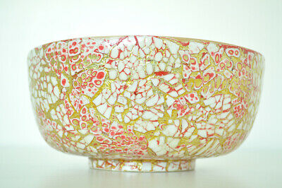 Handmade Decorative Bamboo Bowl Lacquered & Inlaid With Eggshell Pink-Gold H071S