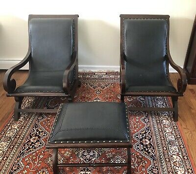 Vintage Black Leather Studded Plantation Lounge Arm Chairs - A Pair & Footstool
