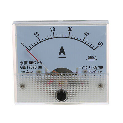 85C1 DC 0-50A Rectangle Analog Panel Ammeter Gauge U5A8