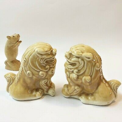 Pair x Chinese Glazed Porcelain Foo Dogs Fu Lions, Male & Female Figurines 12cmT