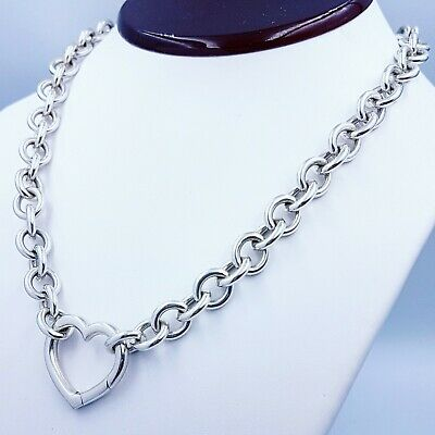 Tiffany & Co. Heart Clasp Pendant Sterling Silver Necklace 18″