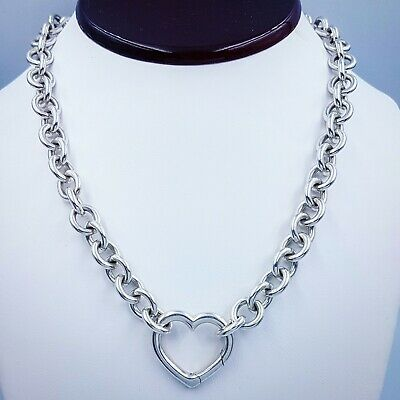 Tiffany & Co. Heart Clasp Pendant Sterling Silver Necklace 16″