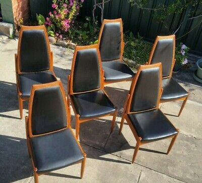 RETRO MID-CENTURY MODERN CHISWELL TEAK 6 x DINING CHAIRS c1975